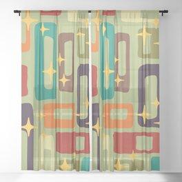 Retro Mid Century Modern Abstract Pattern 225 Sheer Curtain