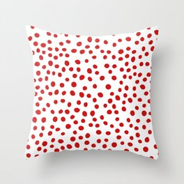 Red doodle dots Throw Pillow