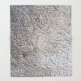 Cambodian Temple Wall Throw Blanket
