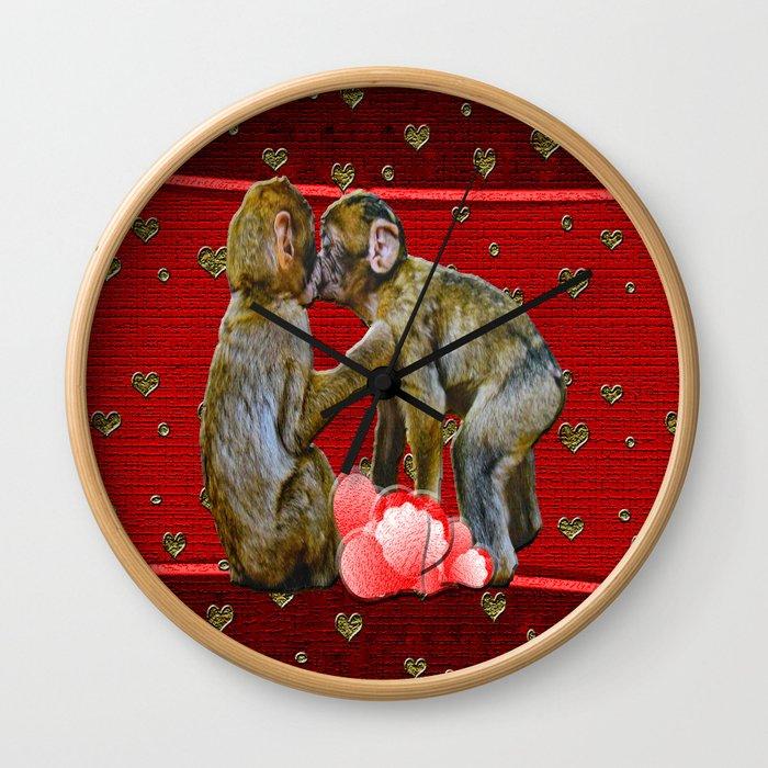 Kissing Chimpanzees Floating Hearts Wall Clock