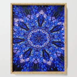 Blue Knight Starburst Mandala Serving Tray
