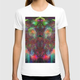 Butterfly Block Face (Burgundy) (abstract, psychedelic, visionary) T-shirt