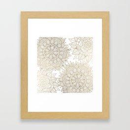 Elegant faux gold white spiritual floral mandala Framed Art Print