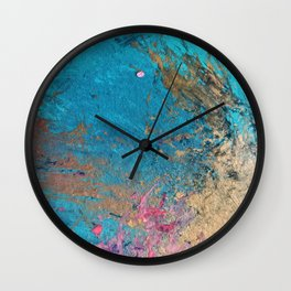 Coral Reef [2]: colorful abstract in blue, teal, gold, and pink Wall Clock