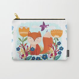 A Fox In The Flowers With A Flying Feathered Friend Carry-All Pouch