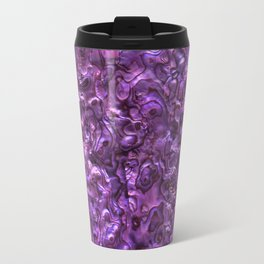 Abalone Shell | Paua Shell | Magenta Tint Metal Travel Mug