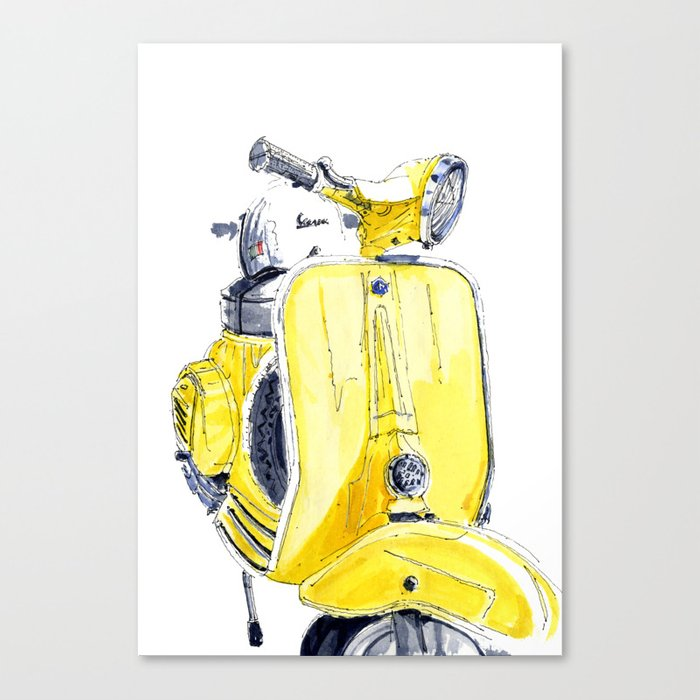 Yellow Vespa 50s Canvas Print