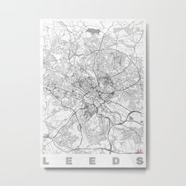 Leeds Map Line Metal Print