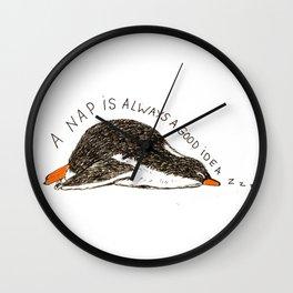 Penguin's nap Wall Clock