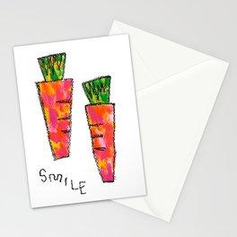 We Live Only Once no.2 smile Carrot Vegetable Food Painting Kitchen Illustration Vegan Vegetarian Stationery Cards
