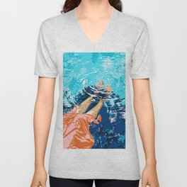 Take Me Where The Waves Kiss My Feet, Eclectic Nature River Woman Colorful Water Coral Bohemian Unisex V-Neck