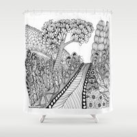 trip Shower Curtains featuring Zentangle Illustration - Road Trip by Vermont Greetings