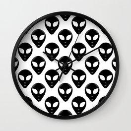 Alien Head Pattern Black and White Wall Clock