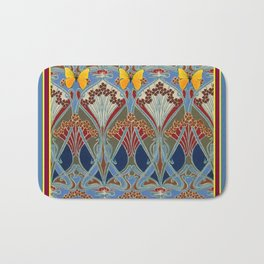 Grey-Burgundy Color & Yellow Art Nouveau Butterfly Design Bath Mat
