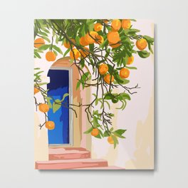 Wherever you go, go with all your heart,Summer Orange Tree Travel Luxury Villa Spain Greece Painting Metal Print