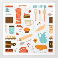 baking Art Prints featuring baking pattern by olillia
