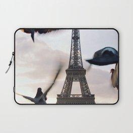 Paris Eiffel tower and flight of birds Laptop Sleeve