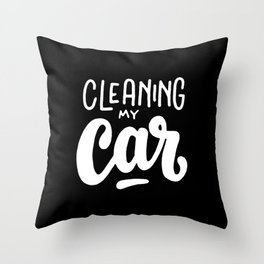 Cleaning my car #2 Throw Pillow