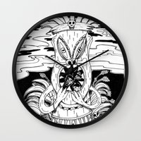 tiki Wall Clocks featuring Tiki lunch by CHAUCHE