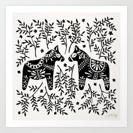 Swedish Dala Horses – Black Palette Art Print