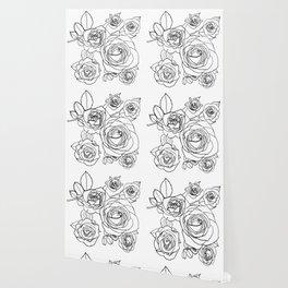 Feminine and Romantic Rose Pattern Line Work Illustration Wallpaper