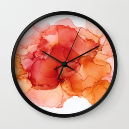 Orange, pink and red abstract alcohol ink Wall Clock