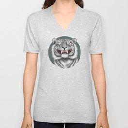 Smiling Tiger - monotone Unisex V-Neck