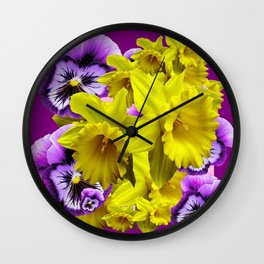 YELLOW SPRING DAFFODILS & LILAC PANSIES COLOR ART Wall Clock
