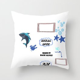 Diving  Dive Diver  Sink Soak Dipping Sports Gift  Throw Pillow