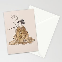 Vintage Oriental Antique Japan Smoking Lady Stationery Cards