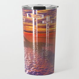 Christian crosses on red sea Travel Mug