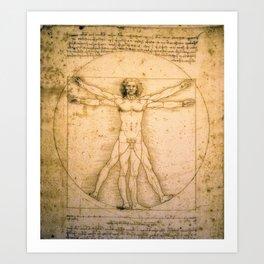 Vitruvian Man by Leonardo da Vinci Art Print