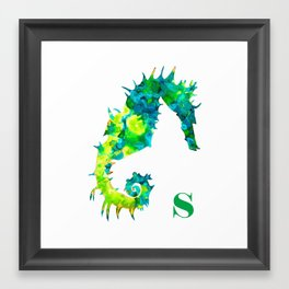 S is for Seahorse (green) Framed Art Print