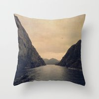 mountains Throw Pillows featuring mountains by Ingrid Beddoes