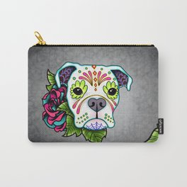 Boxer in White- Day of the Dead Sugar Skull Dog Carry-All Pouch