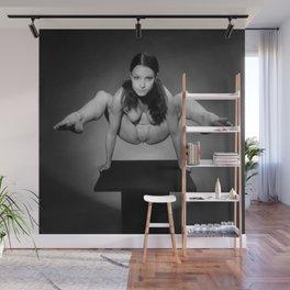 7717s-MAK BW Art Nude Flexible Woman Balancing Above Platform Wall Mural