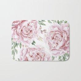 Pretty Pink Roses Floral Garden Bath Mat