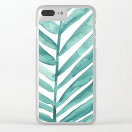 Green Palm Leaf Crop Clear iPhone Case