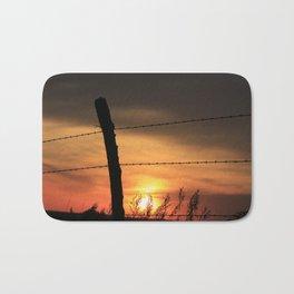 Kansas Sunset with fence Silhouette Bath Mat