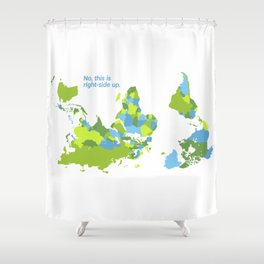 No, this is right-side up - World Map Upside-down Shower Curtain