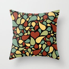 Heart surrounded by drops black pattern Throw Pillow