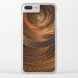 Earthen Brown Circular Fractal on a Woven Wicker Samurai Clear iPhone Case