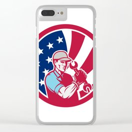 American Industrial Maintenance Mechanic USA Flag Icon Clear iPhone Case