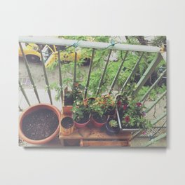 Brooklyn Balcony Gardening Metal Print