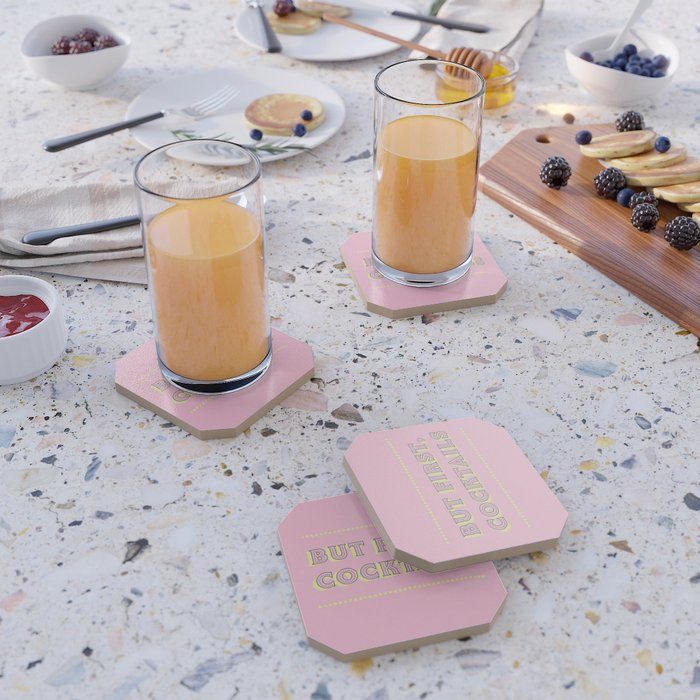 Pastel Pink Party Cocktails Coaster