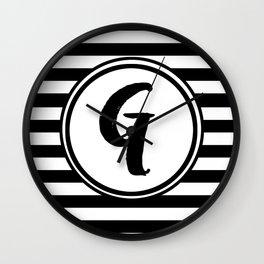 G Striped Monogram Letter Wall Clock