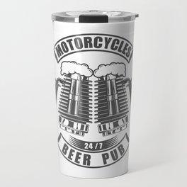 Beer pub emblem in vintage monochrome motorcycle style Travel Mug