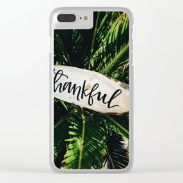 Thankful Botanical (Color) Clear iPhone Case
