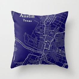 Vintage Austin Blue Throw Pillow