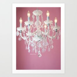 Pink and White Chandelier  Art Print